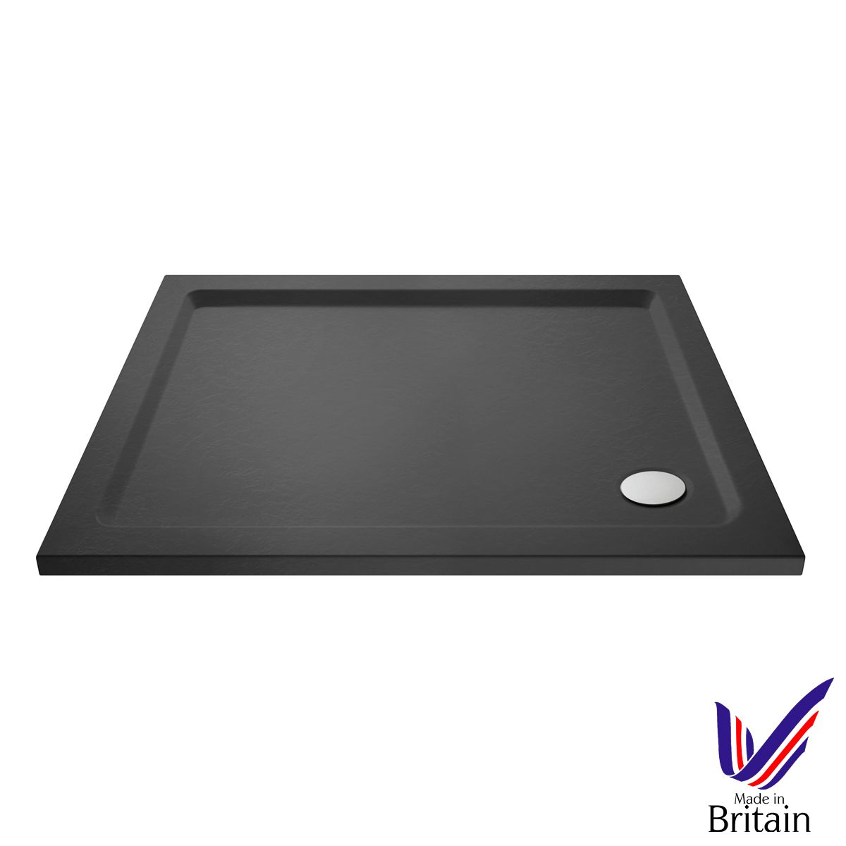 1000 x 700 Shower Tray Slate Grey Rectangular Low Profile by Pearlstone