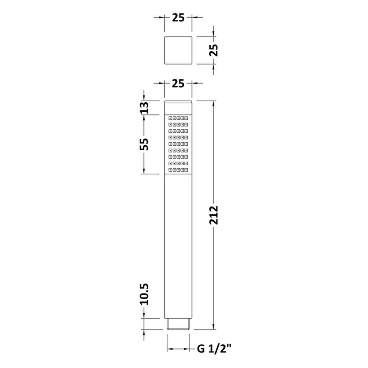 Hudson Reed Square Brass Handset Line Drawing