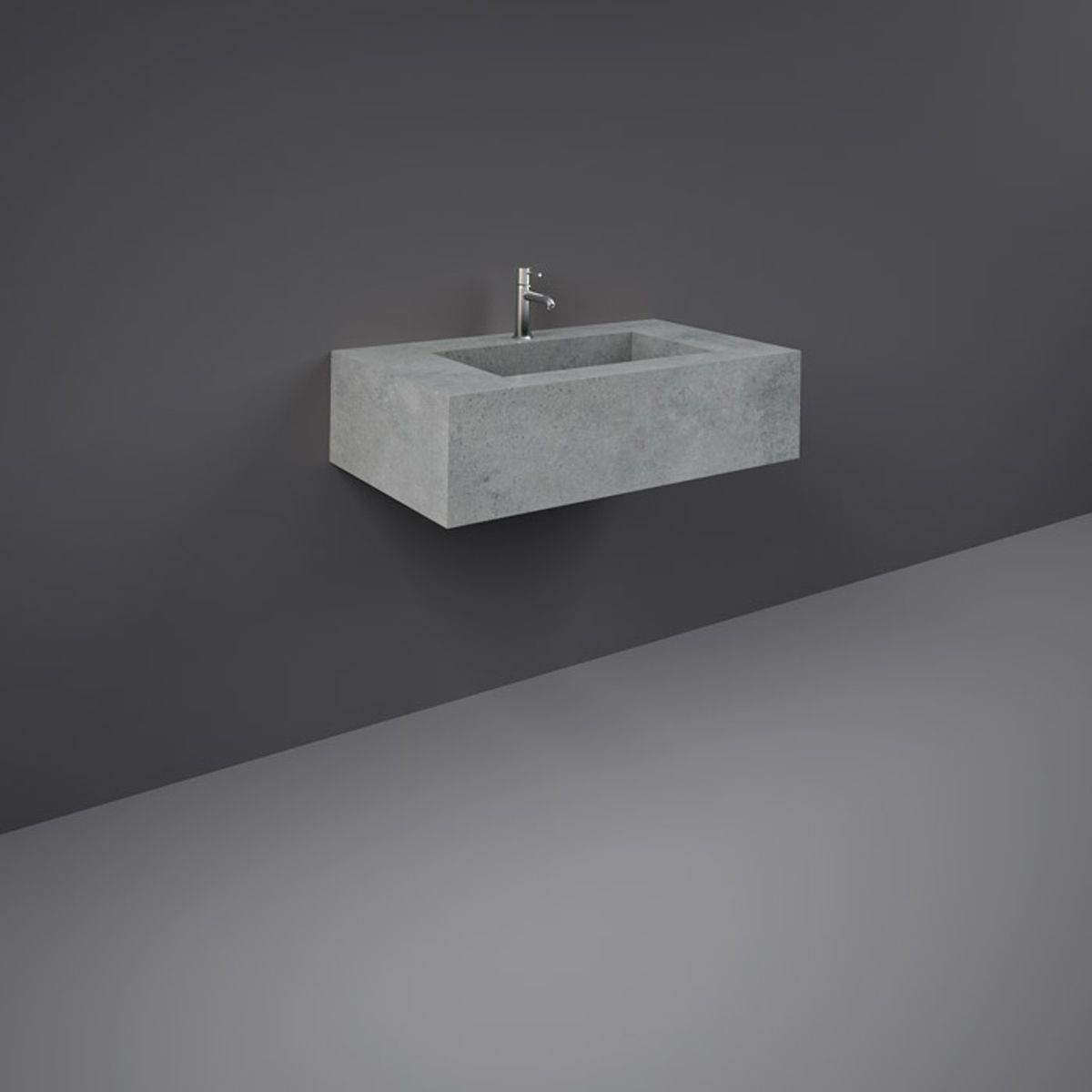 RAK Precious Surface Cool Grey Wall Hung Counter Basin 800mm with Brackets
