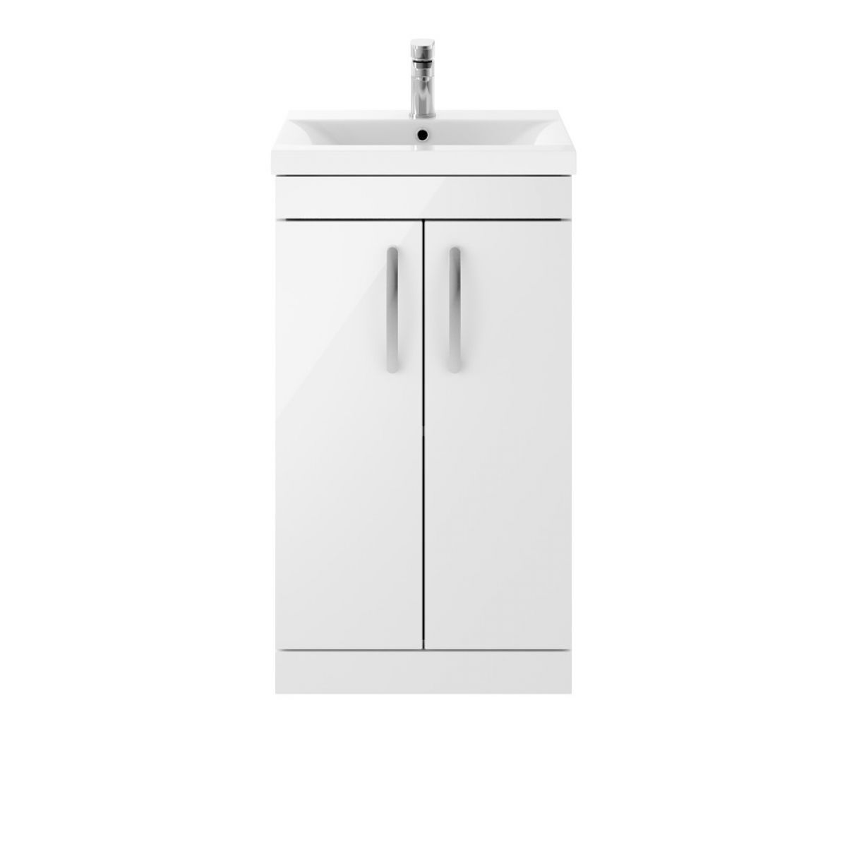 Premier Athena Gloss White 2 Door Floor Standing Vanity Unit 500mm with Mid Edge Basin