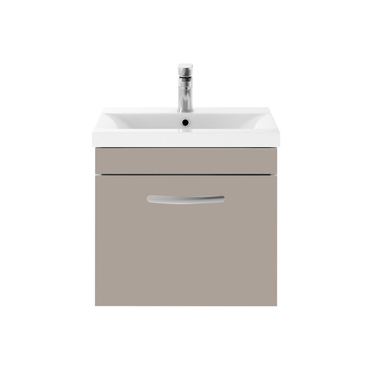 Premier Athena Stone Grey 1 Drawer Wall Hung Vanity Unit 500mm with Mid Edge Basin