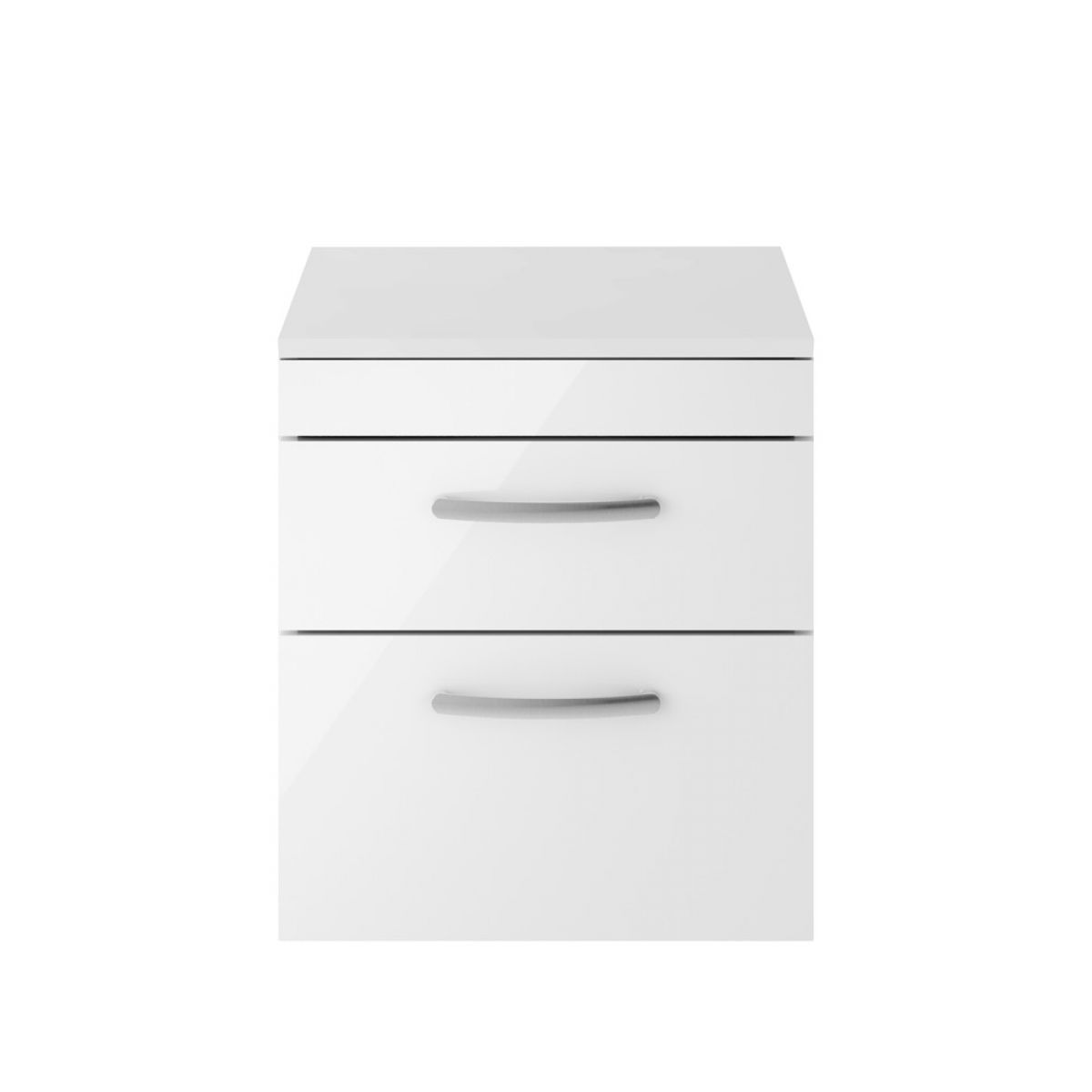 Premier Athena Gloss White 2 Drawer Wall Hung Vanity Unit 500mm with Worktop