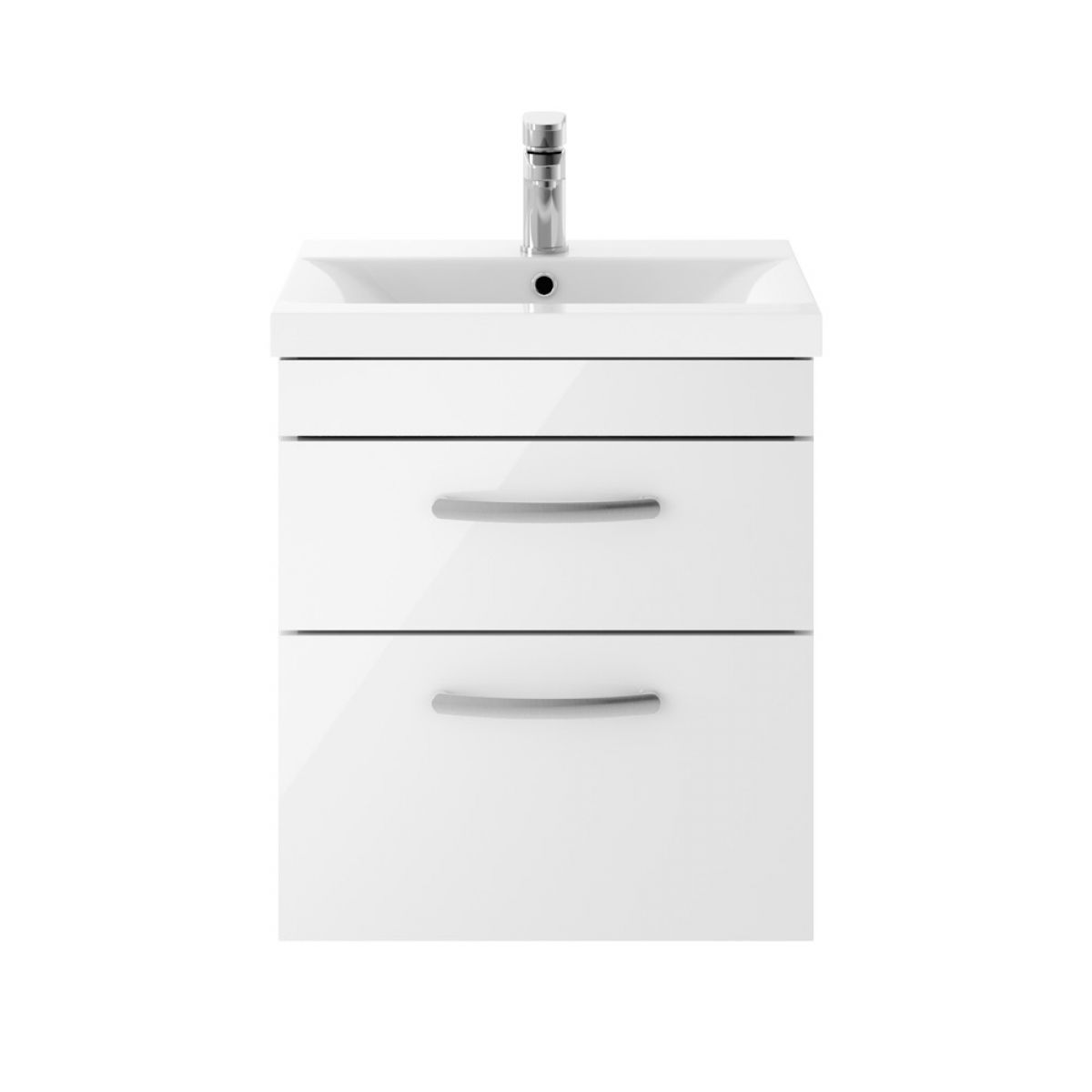 Premier Athena Gloss White 2 Drawer Wall Hung Vanity Unit 500mm wuth Mid Edge Basin