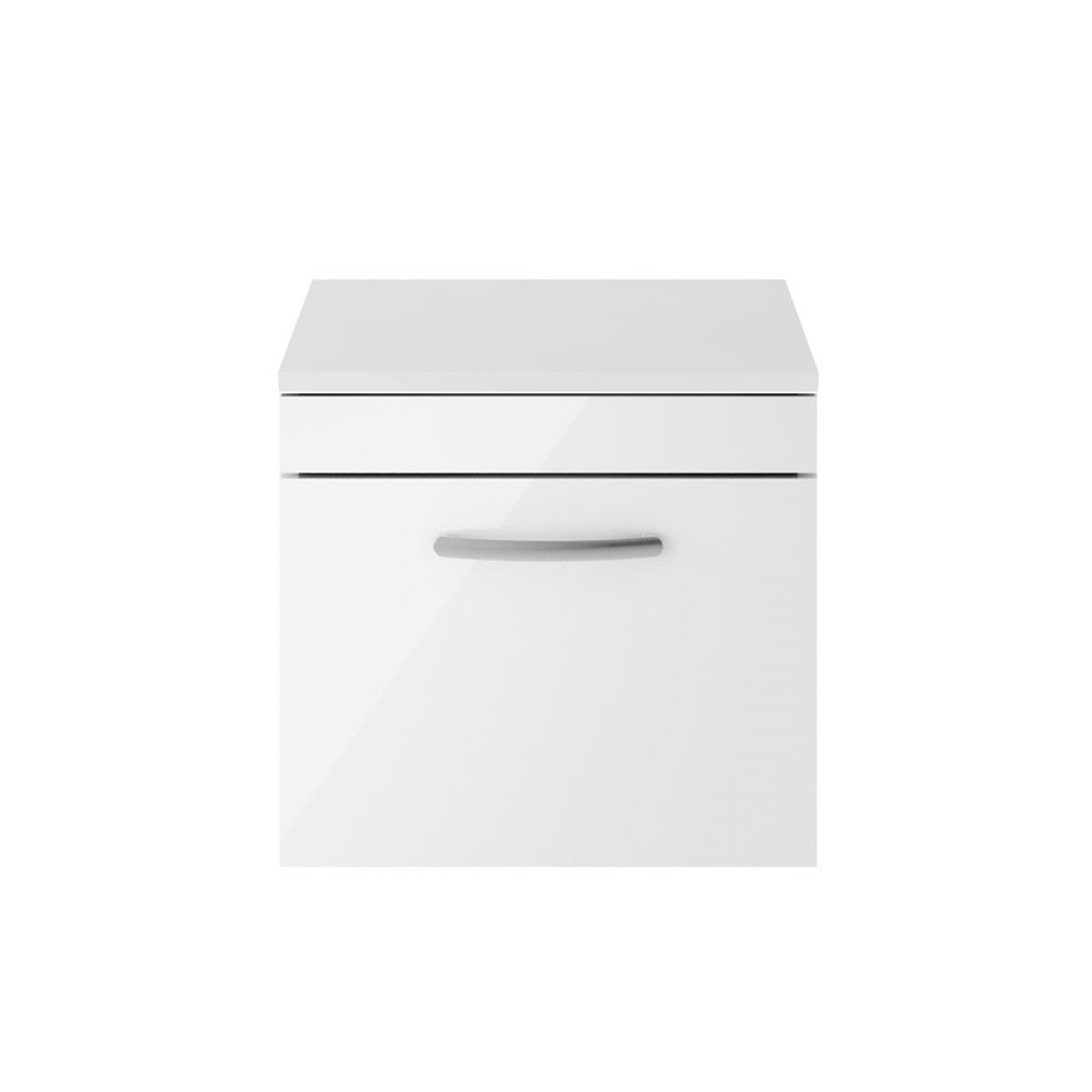 Premier Athena Gloss White 1 Drawer Wall Hung Vanity Unit 500mm with Worktop