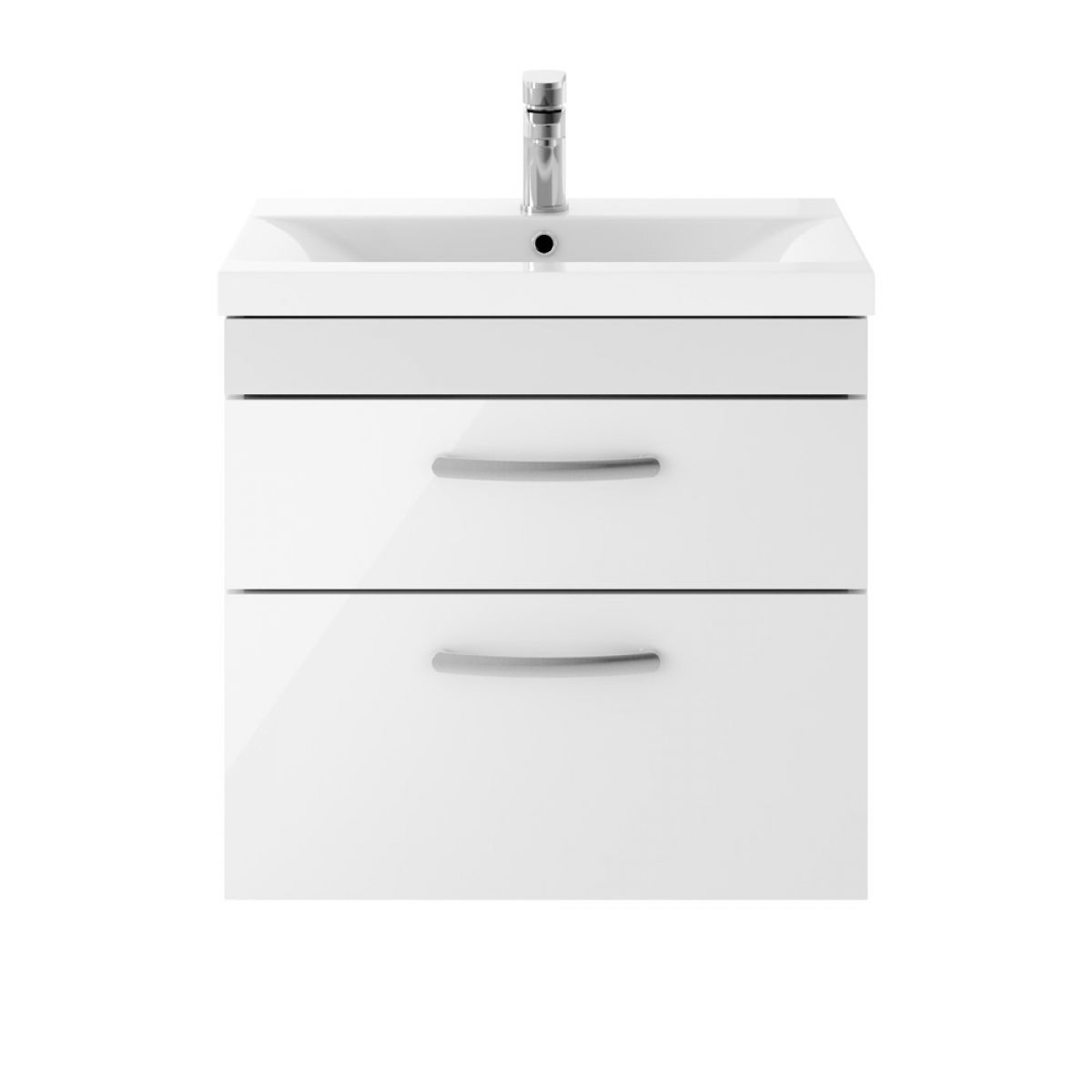Premier Athena Gloss White 2 Drawer Wall Hung Vanity Unit 600mm with Mid Edge Basin