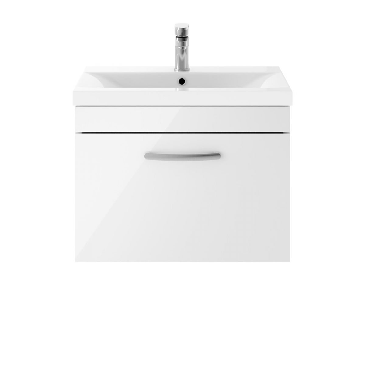 Premier Athena Gloss White 1 Drawer Wall Hung Vanity Unit 600mm with Mid Edge Basin