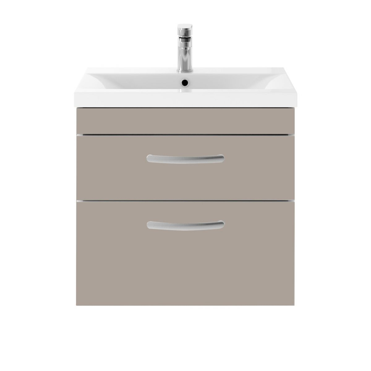 Premier Athena stone grey 2 Drawer Wall Hung Vanity Unit 600mm with Mid Edge Basin