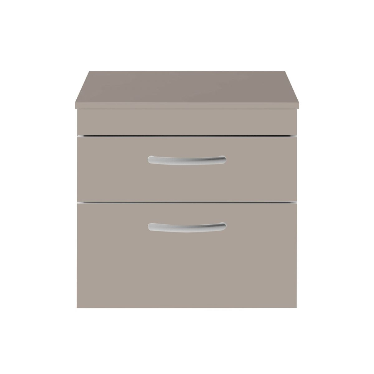 Premier Athena stone grey 2 Drawer Wall Hung Vanity Unit 600mm with Worktop