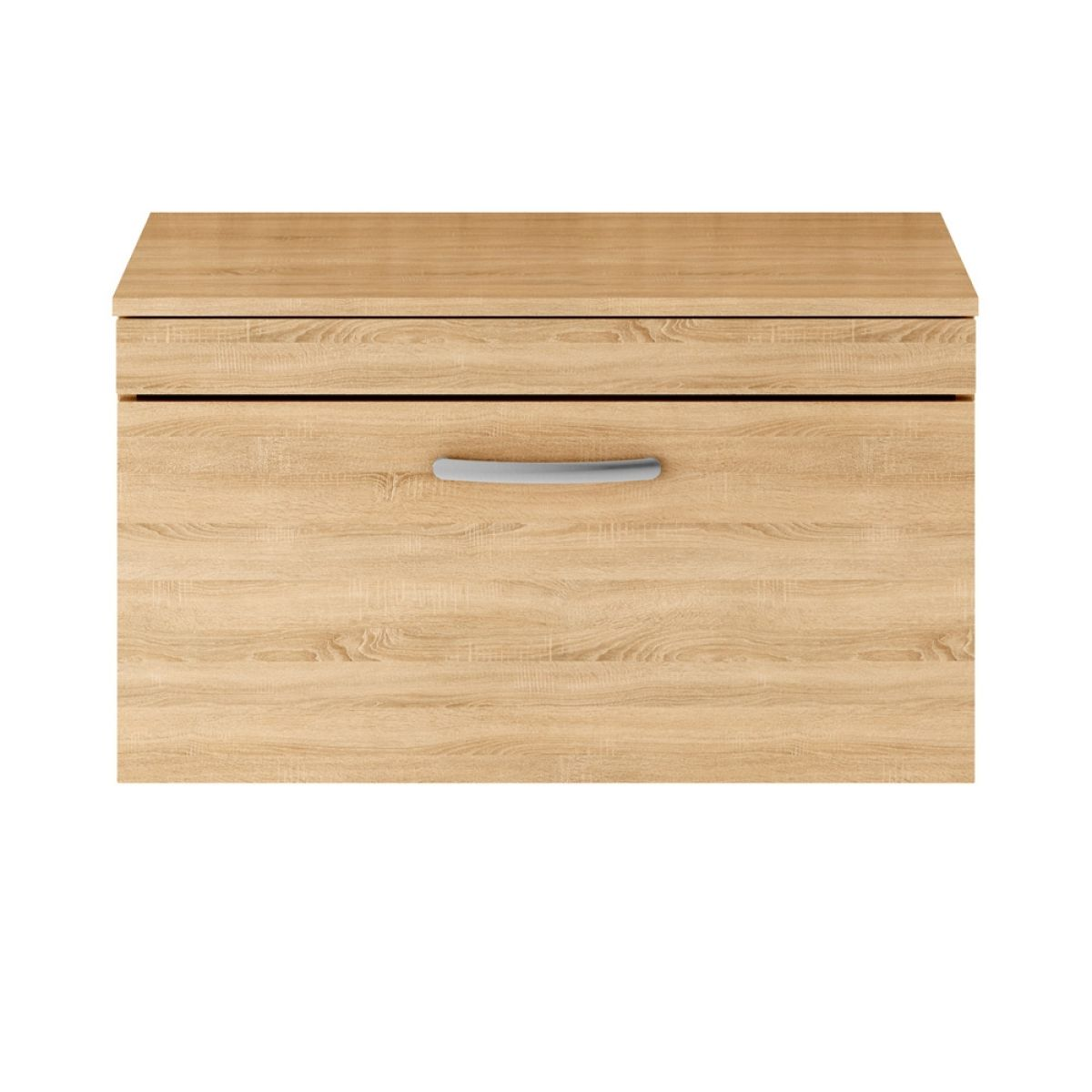 Premier Athena Natural Oak 1 Drawer Wall Hung Vanity Unit 800mm with Worktop