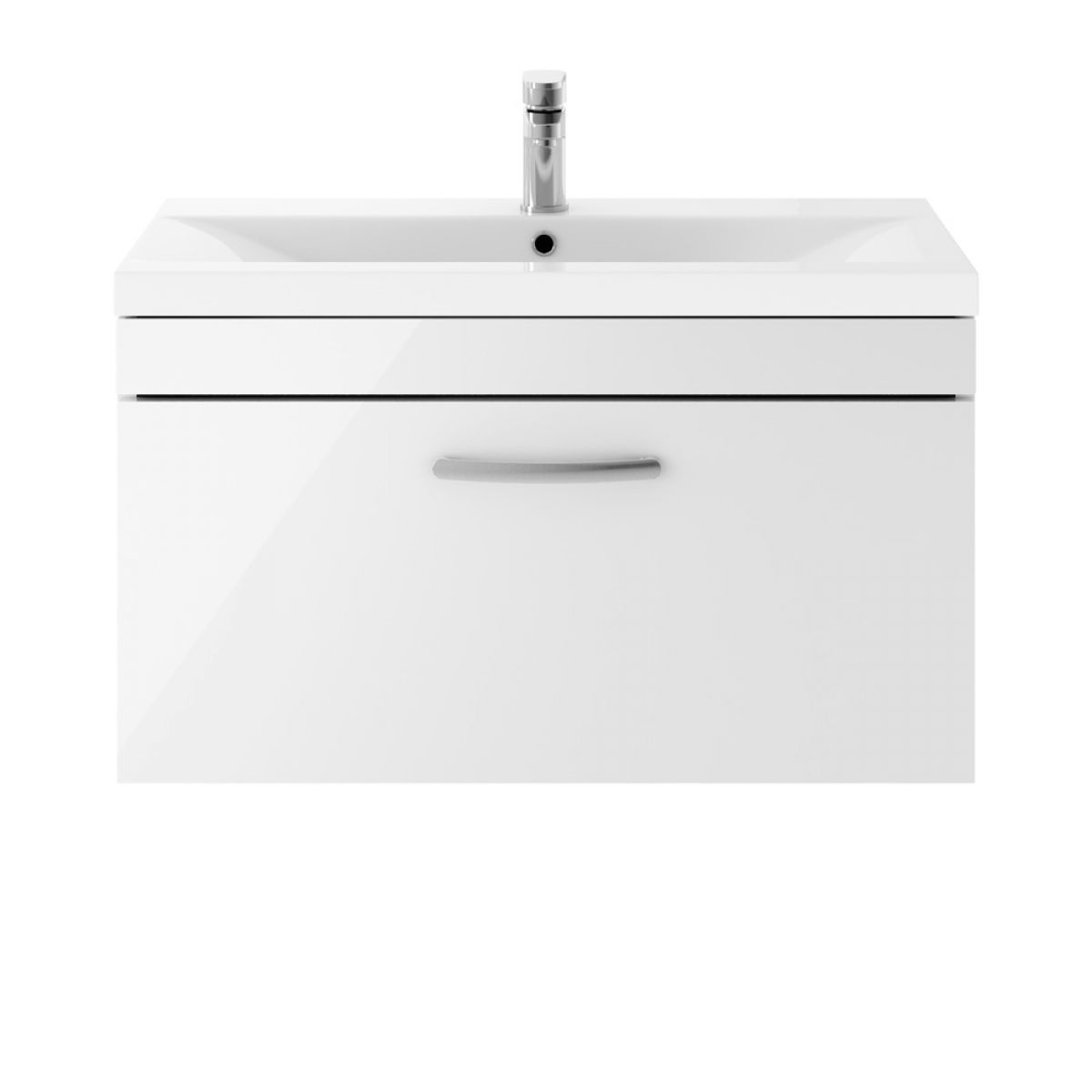 Premier Athena Gloss White 1 Drawer Wall Hung Vanity Unit 800mm with Mid Edge Basin
