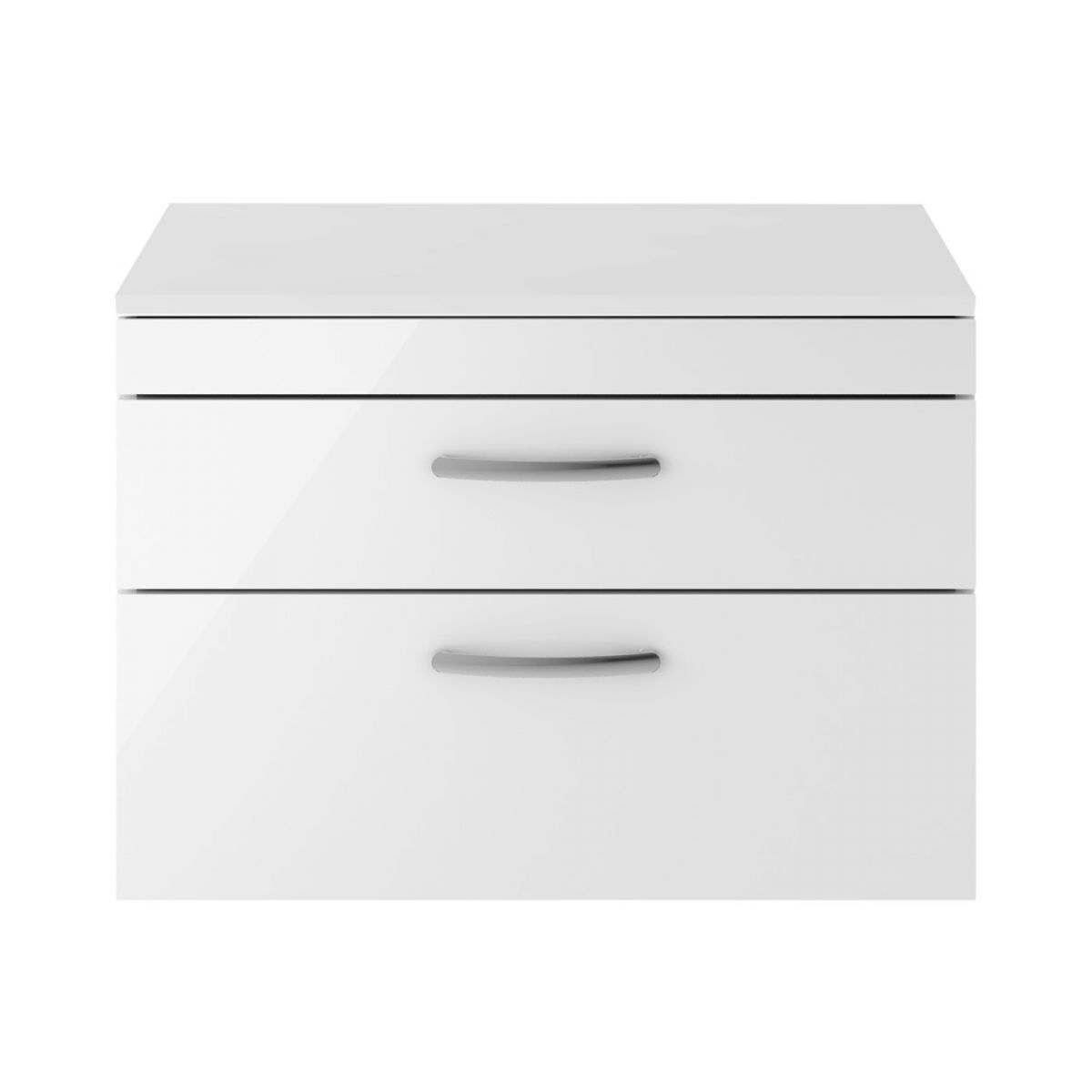 Premier Athena Gloss White 2 Drawer Wall Hung Vanity Unit 800mm with Worktop
