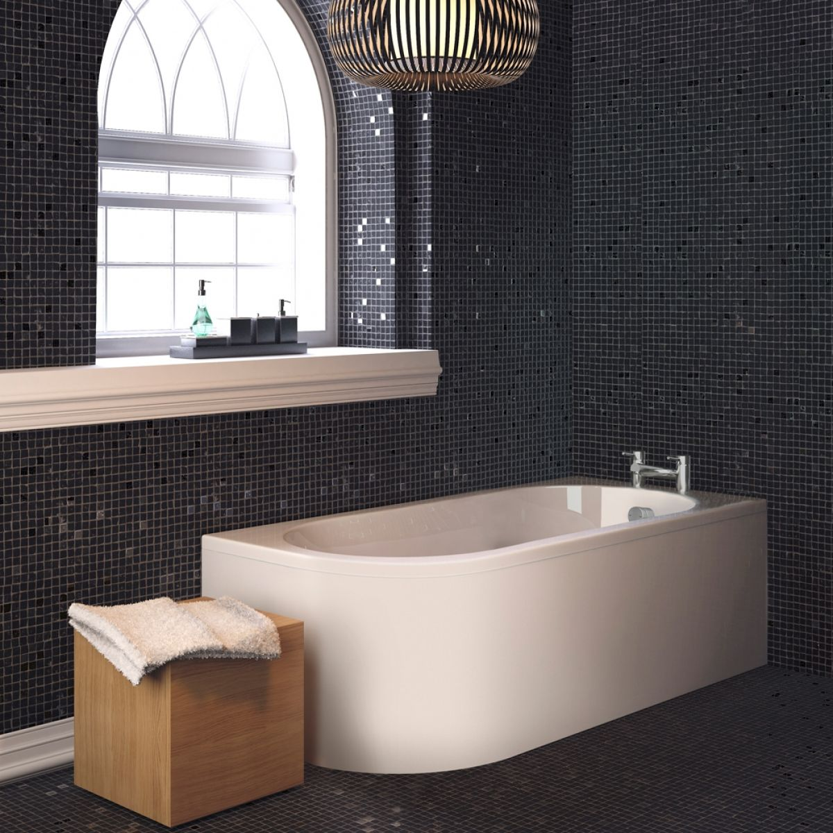 Premier Crescent Back To Wall Bath with Front Panel