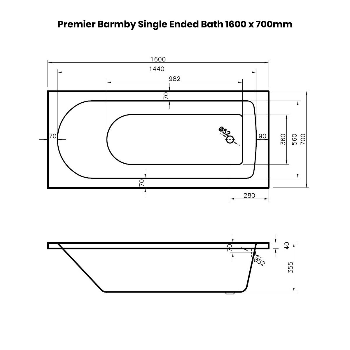 Premier Barmby Single Ended Bath 1600 x 700mm Dimensions
