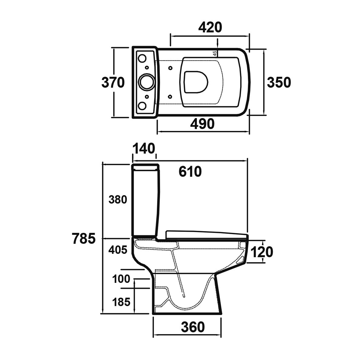 Premier Bliss Close Coupled Toilet Dimensions