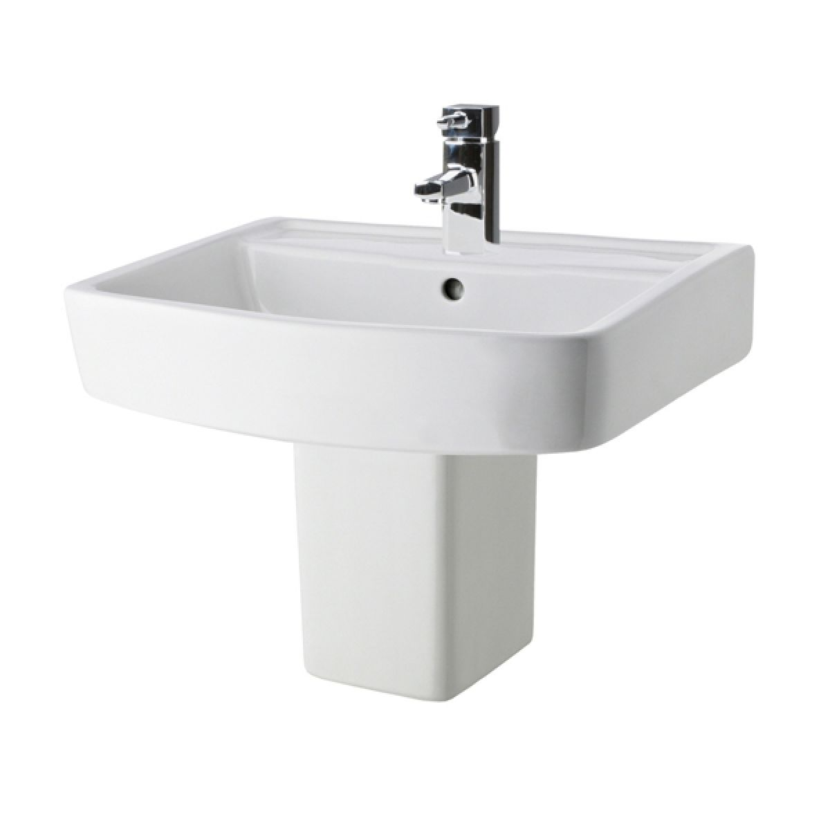 Premier Bliss 1 Tap Hole Basin with Semi Pedestal 600mm