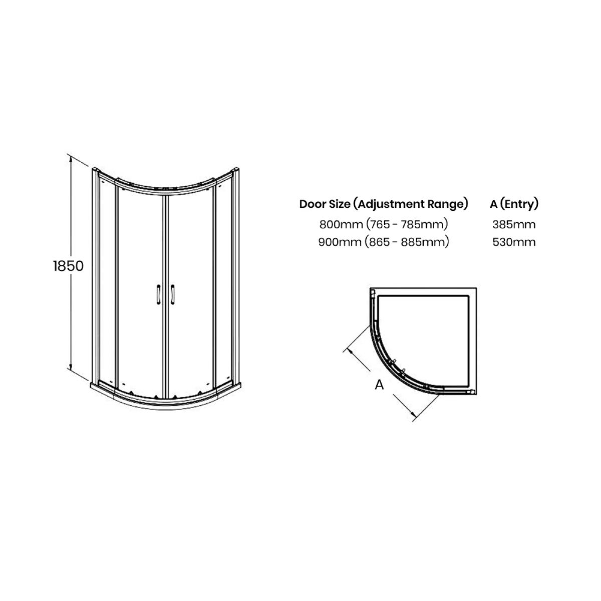 Premier Ella Quadrant Shower Enclosure Dimensions