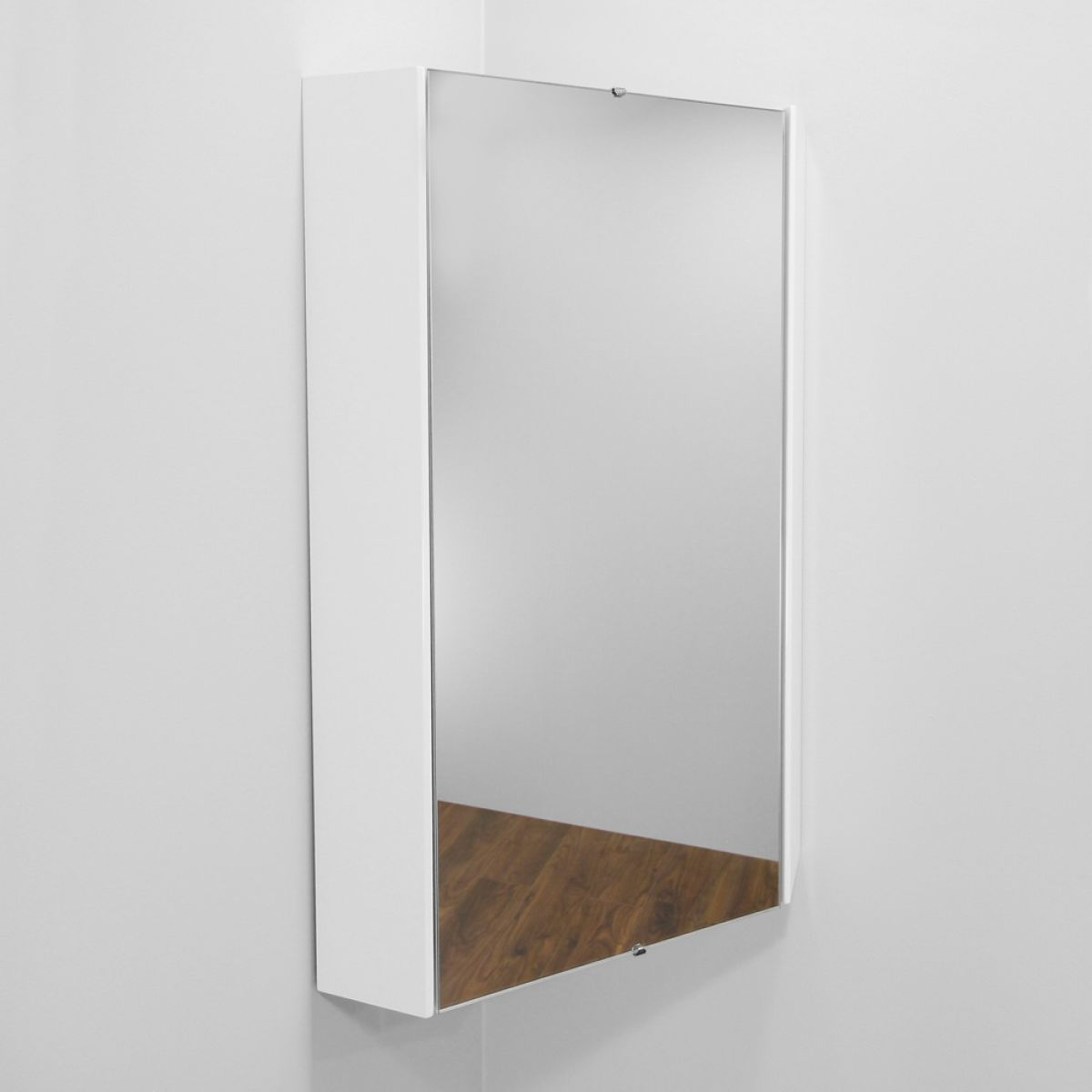 Nuie High Gloss White Corner Mirror Cabinet