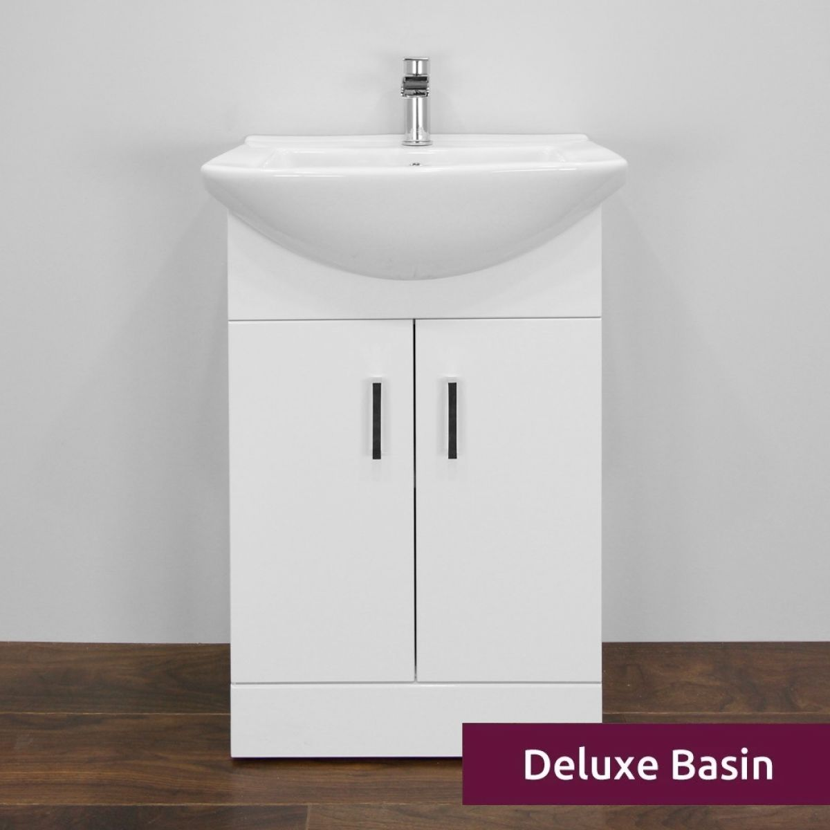 Premier High Gloss White Vanity Unit 550mm with Deluxe Basin Front