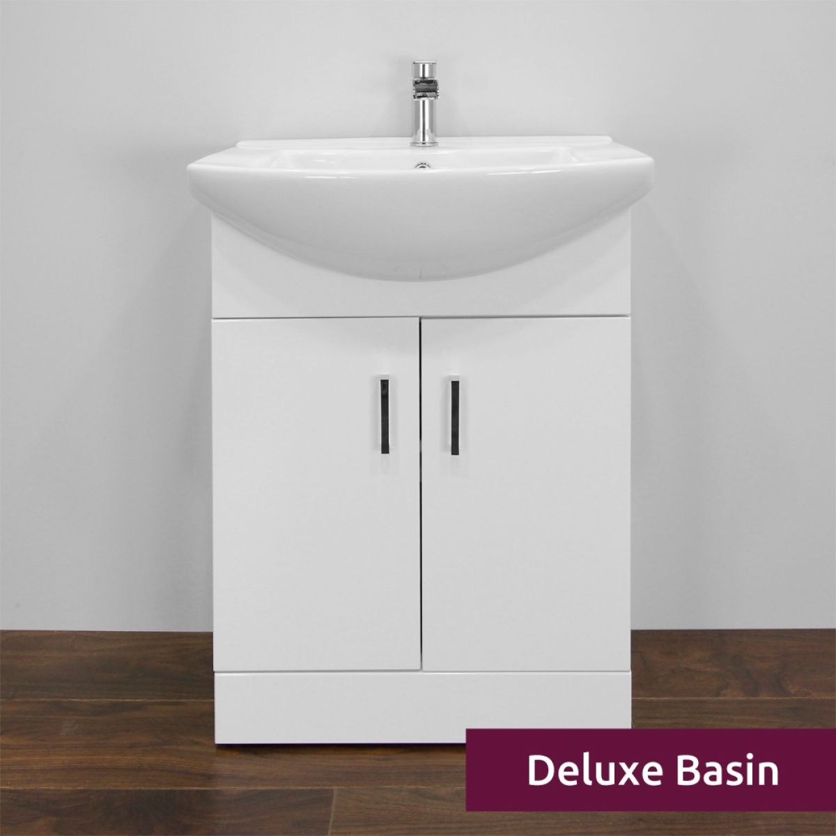 Premier High Gloss White Vanity Unit 650mm with Deluxe Basin Front