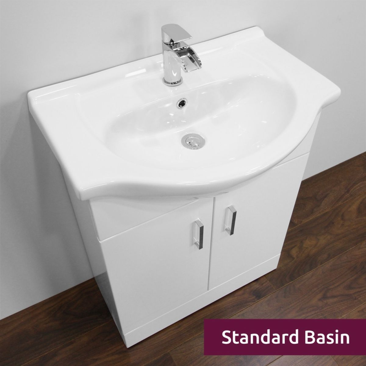 Premier High Gloss White Vanity Unit 650mm with Standard Basin