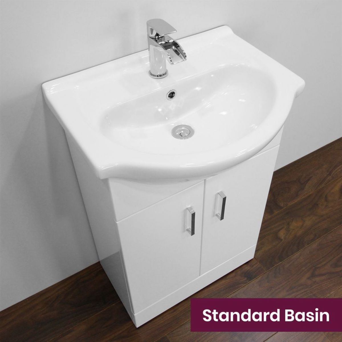 Nuie High Gloss White Vanity Unit with Standard Basin