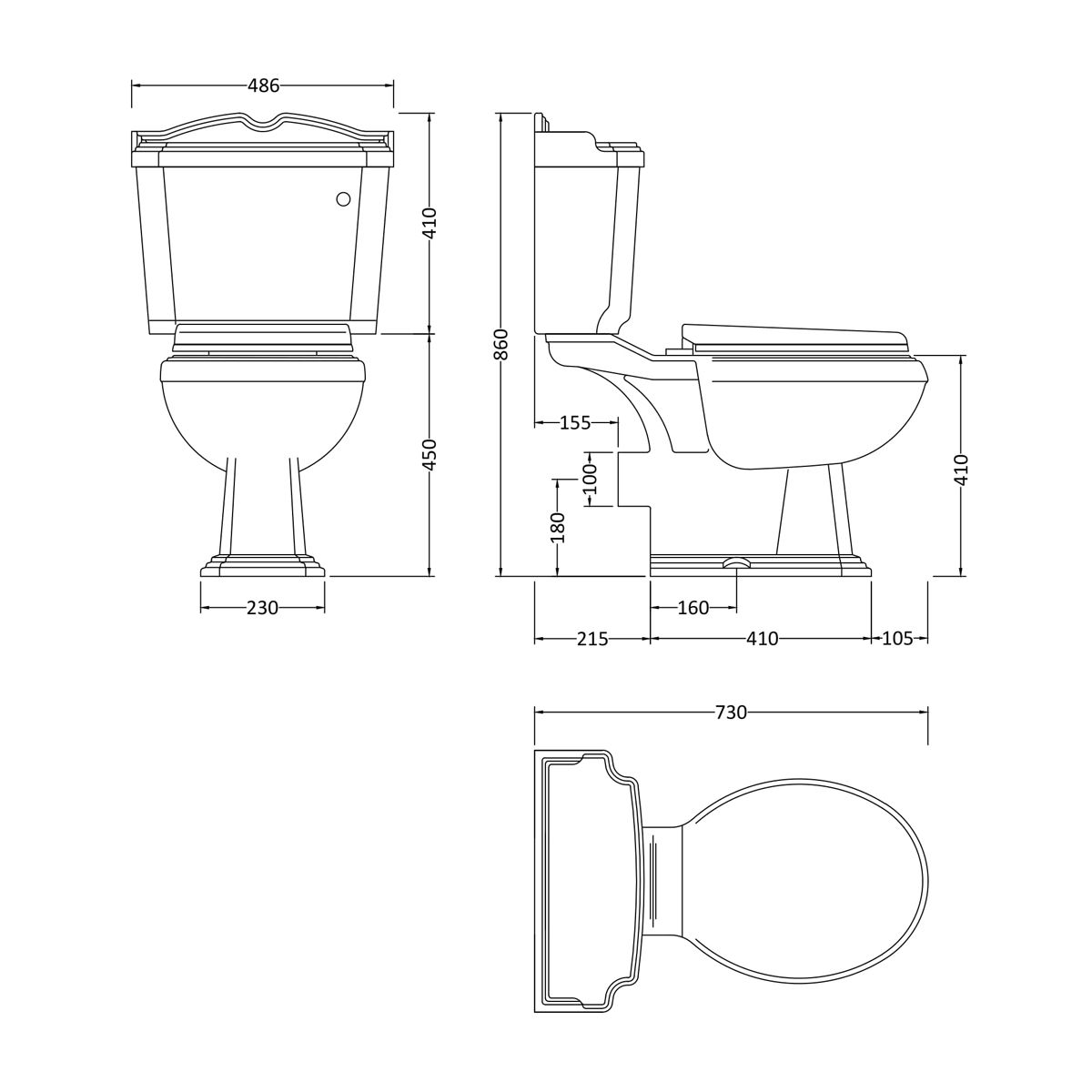 Nuie Legend Close Coupled Toilet Dimensions