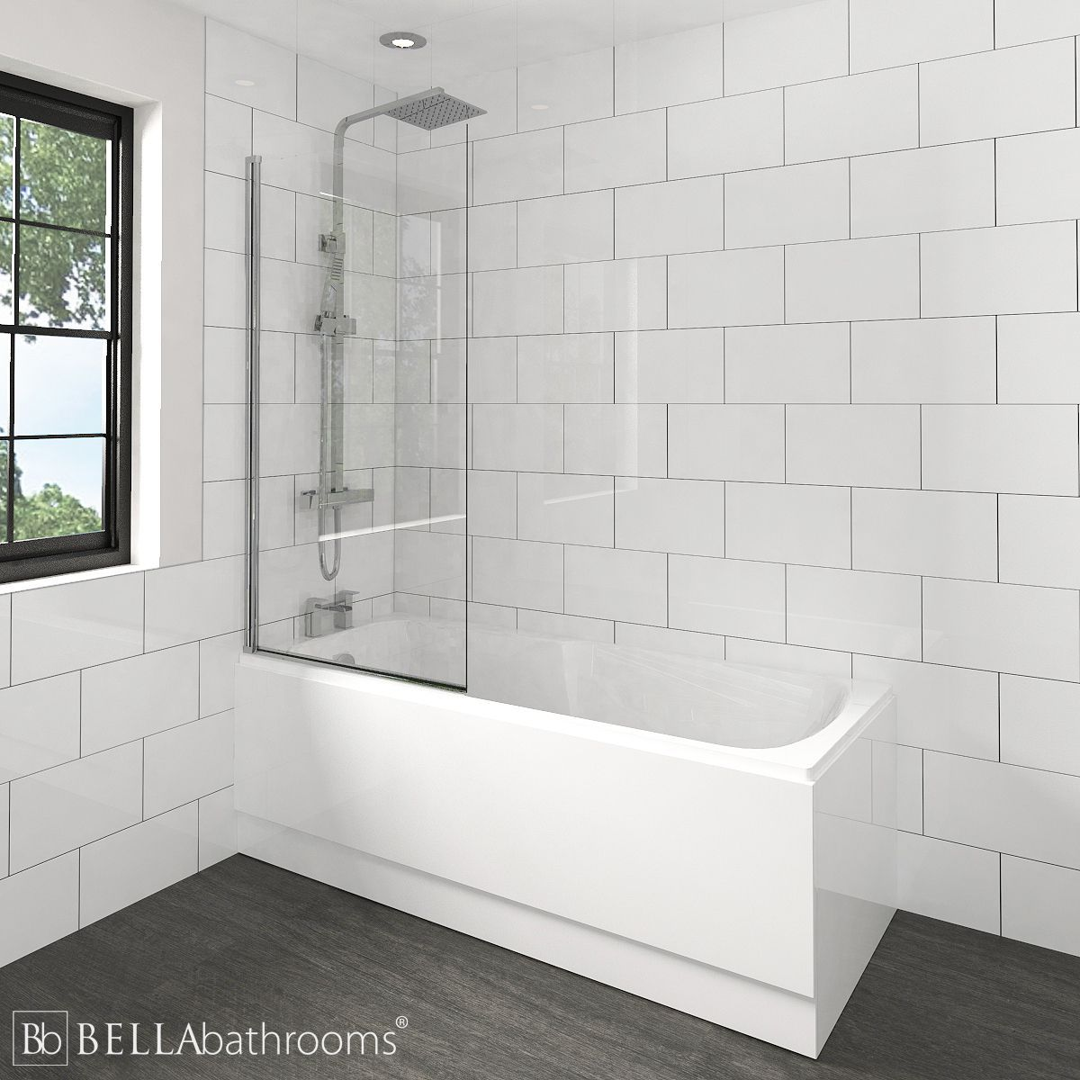 Nuie Linton Shower Bath with Square Bath Screen