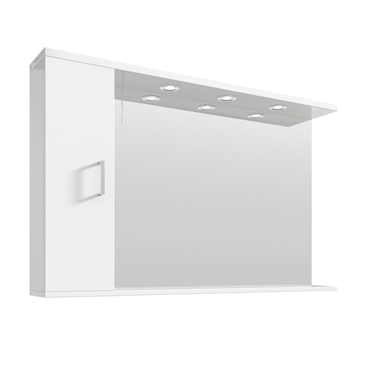 Nuie High Gloss White Bathroom Mirror Cabinet With Lights 1200mm