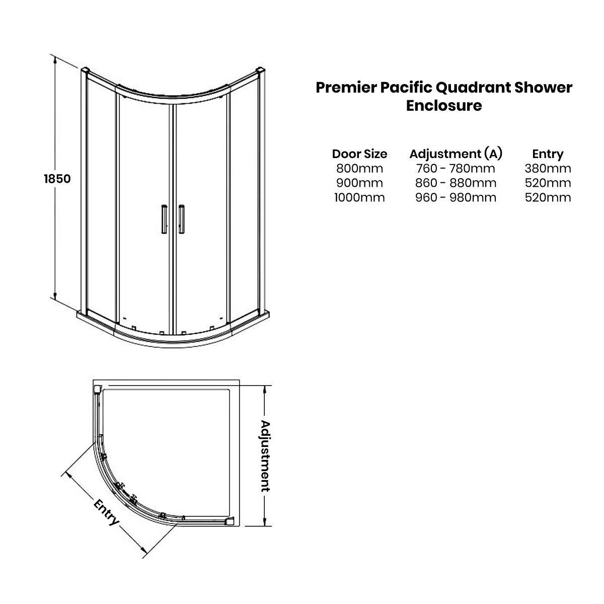 Premier Pacific Double Quadrant Shower Enclosure Dimensions