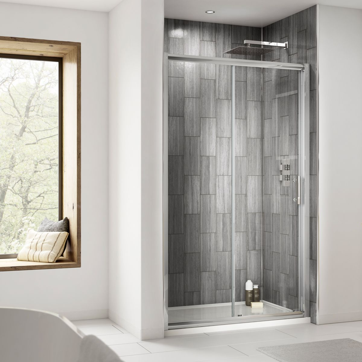 Nuie Pacific Single Sliding Shower Door with Optional Side Panel Recess