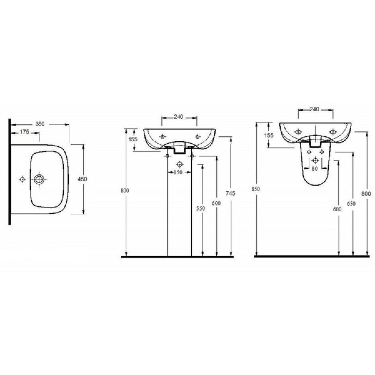 Nuie Ambrose 1 Tap Hole Basin with Full Pedestal 450mm Measurements