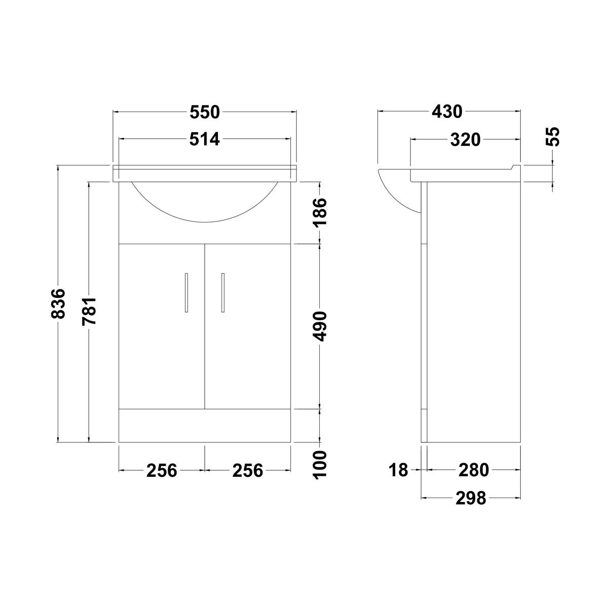Premier Saturn Vanity Unit Dimensions