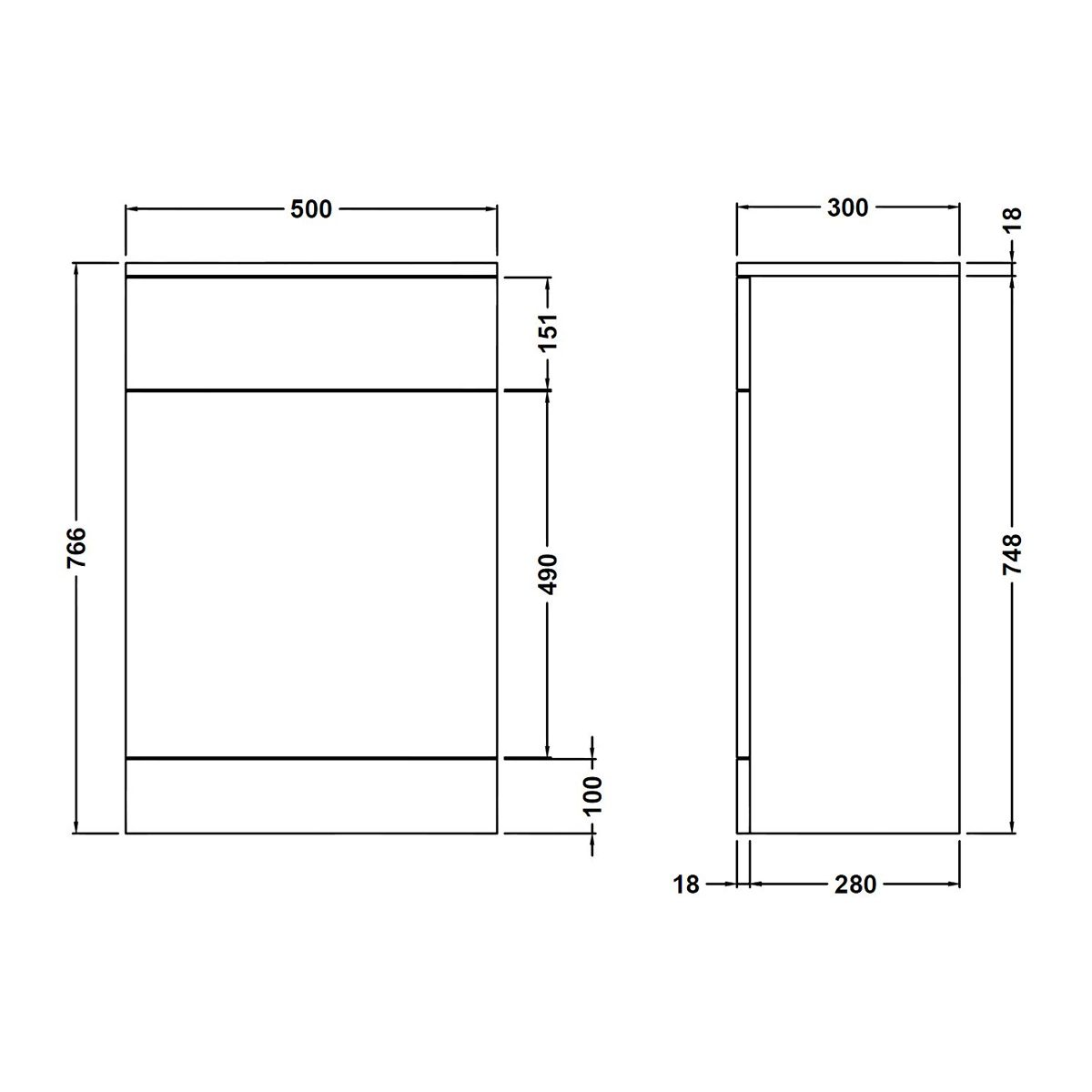 Nuie High Gloss White WC Unit Dimensions