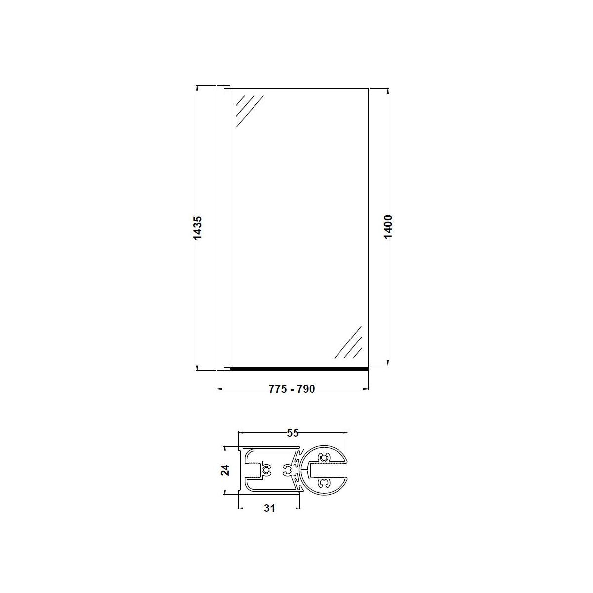 Nuie Straight Square Edge Bath Screen Drawing