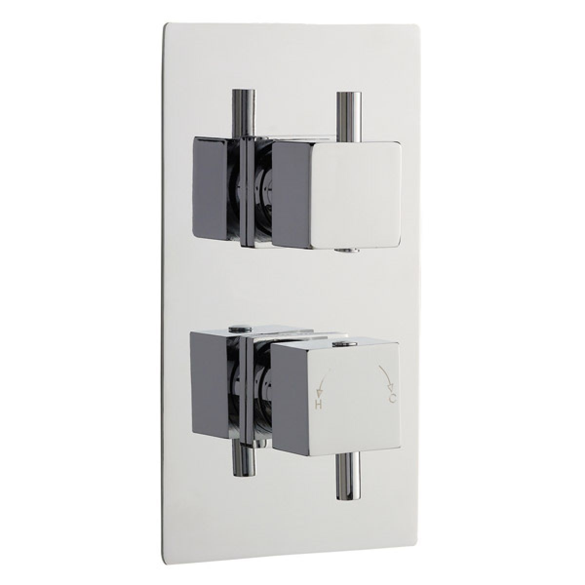 Ultra Volt Twin Concealed Square Thermostatic Shower Valve with Built-In Diverter