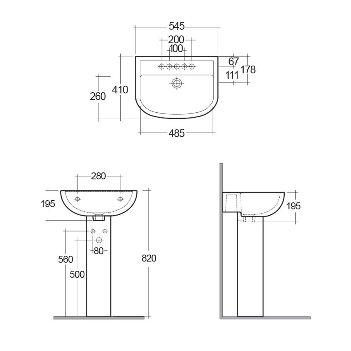 RAK Compact 1 Tap Hole Basin with Full Pedestal Dimensions