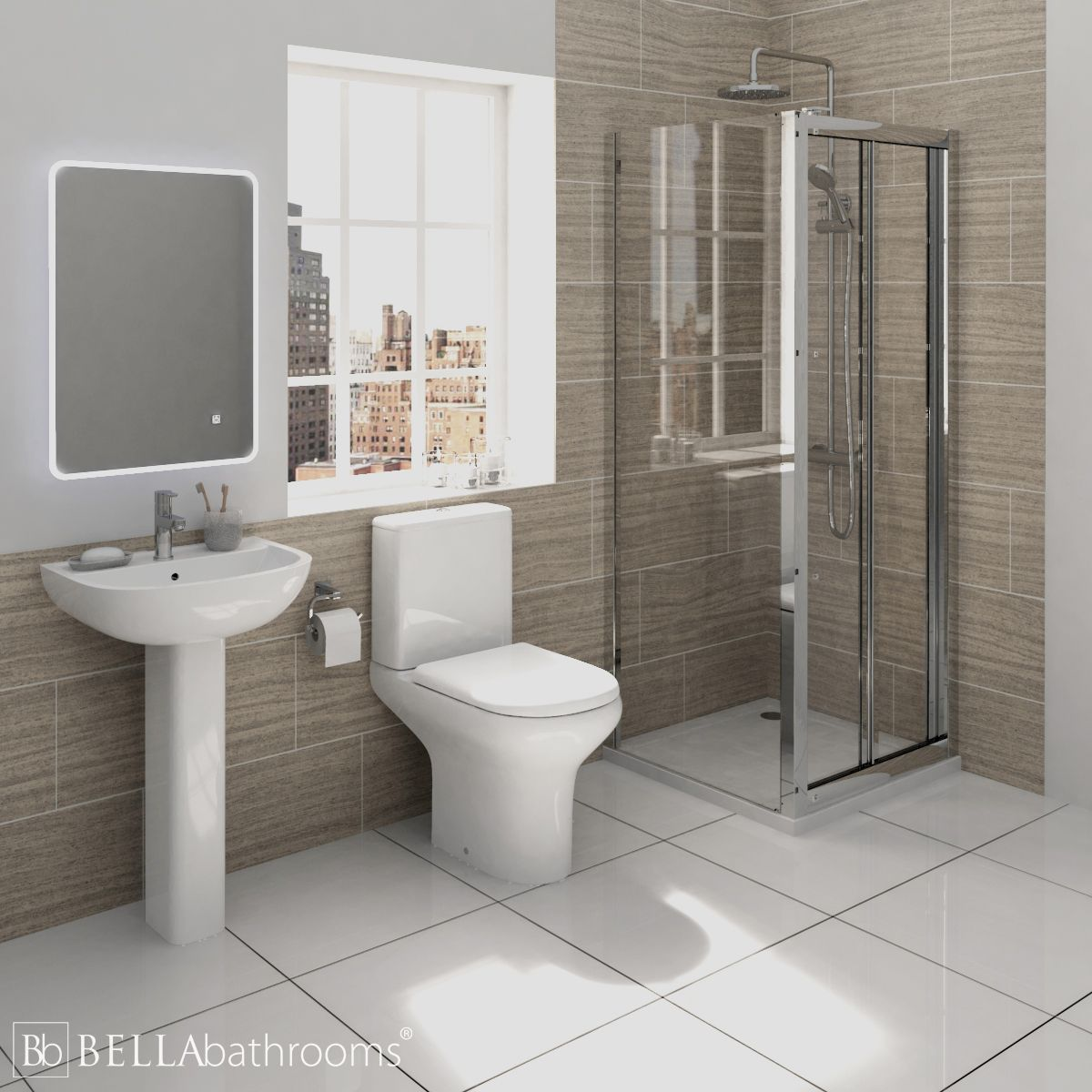 RAK Compact Shower Suite with Pacific Bi-Fold Door Shower Enclosure