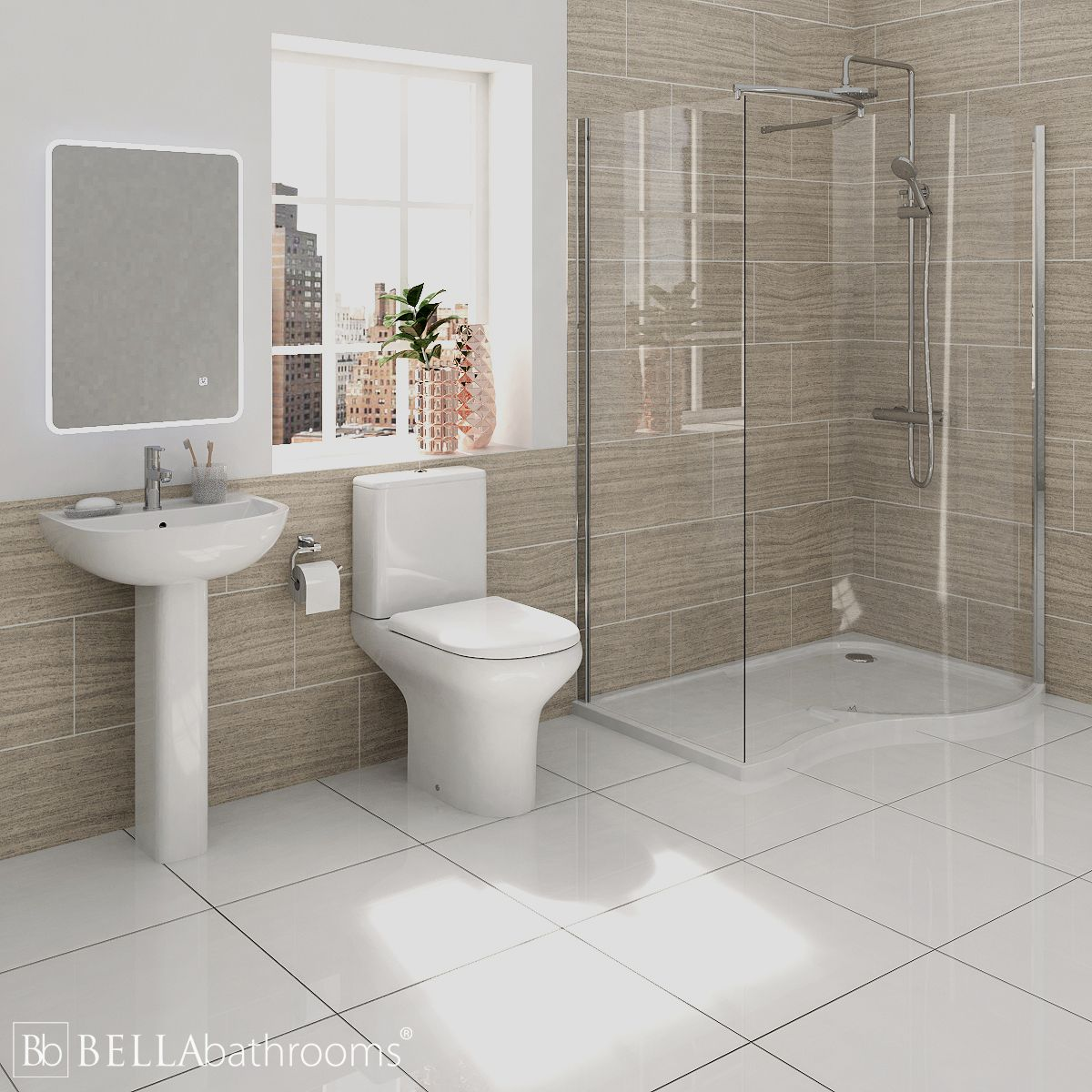 RAK Compact Bathroom Suite with Pacific Walk-In Shower Enclosure