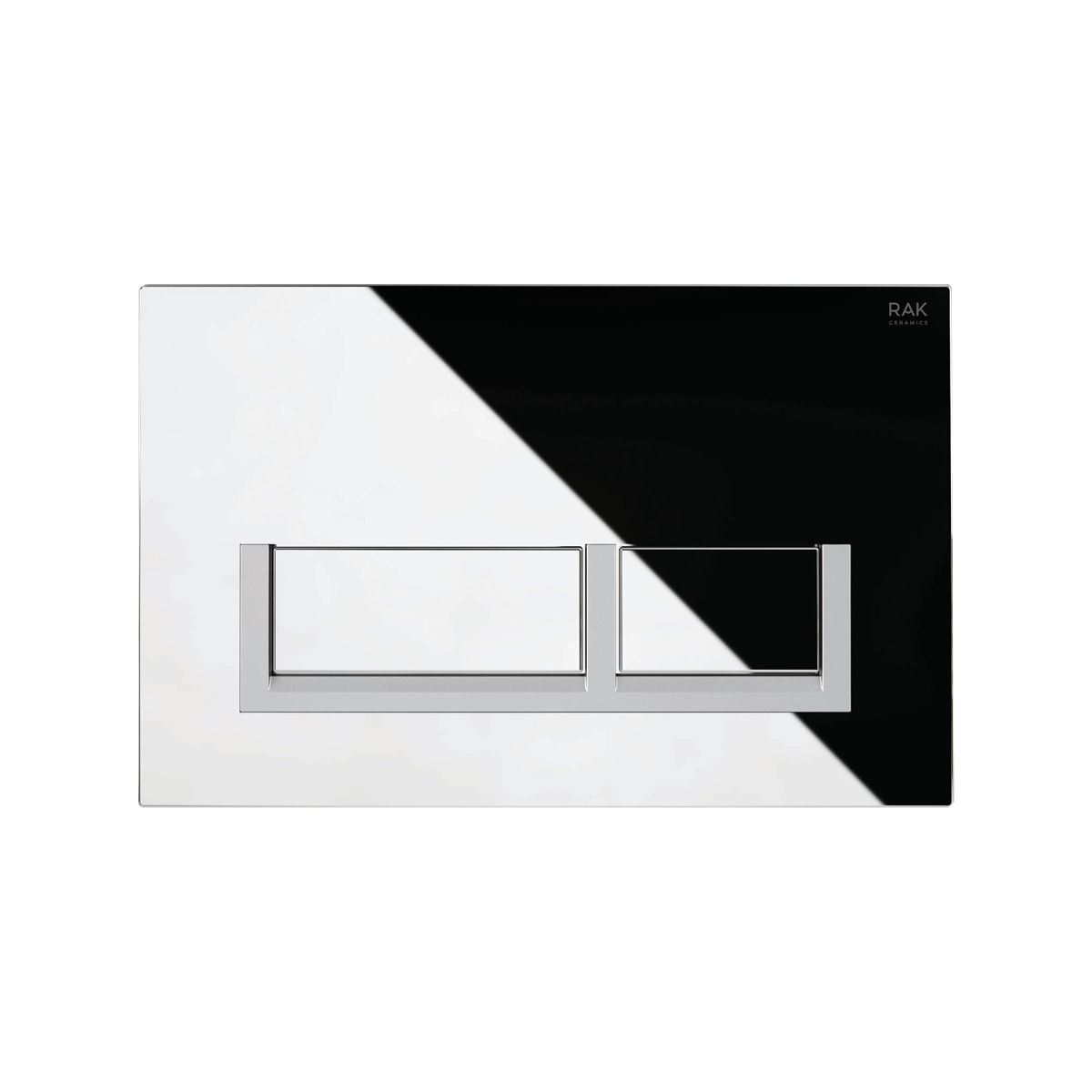 RAK Ecofix Chrome Flush Plate with Surrounded Rectangular Push Buttons