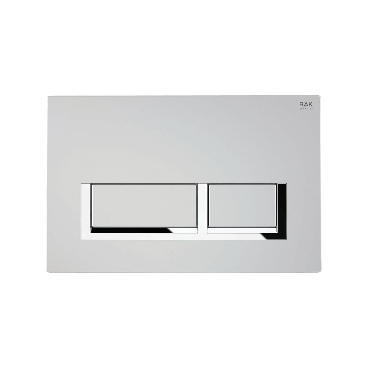 RAK Ecofix Matt Chrome Flush Plate with Surrounded Rectangular Push Buttons