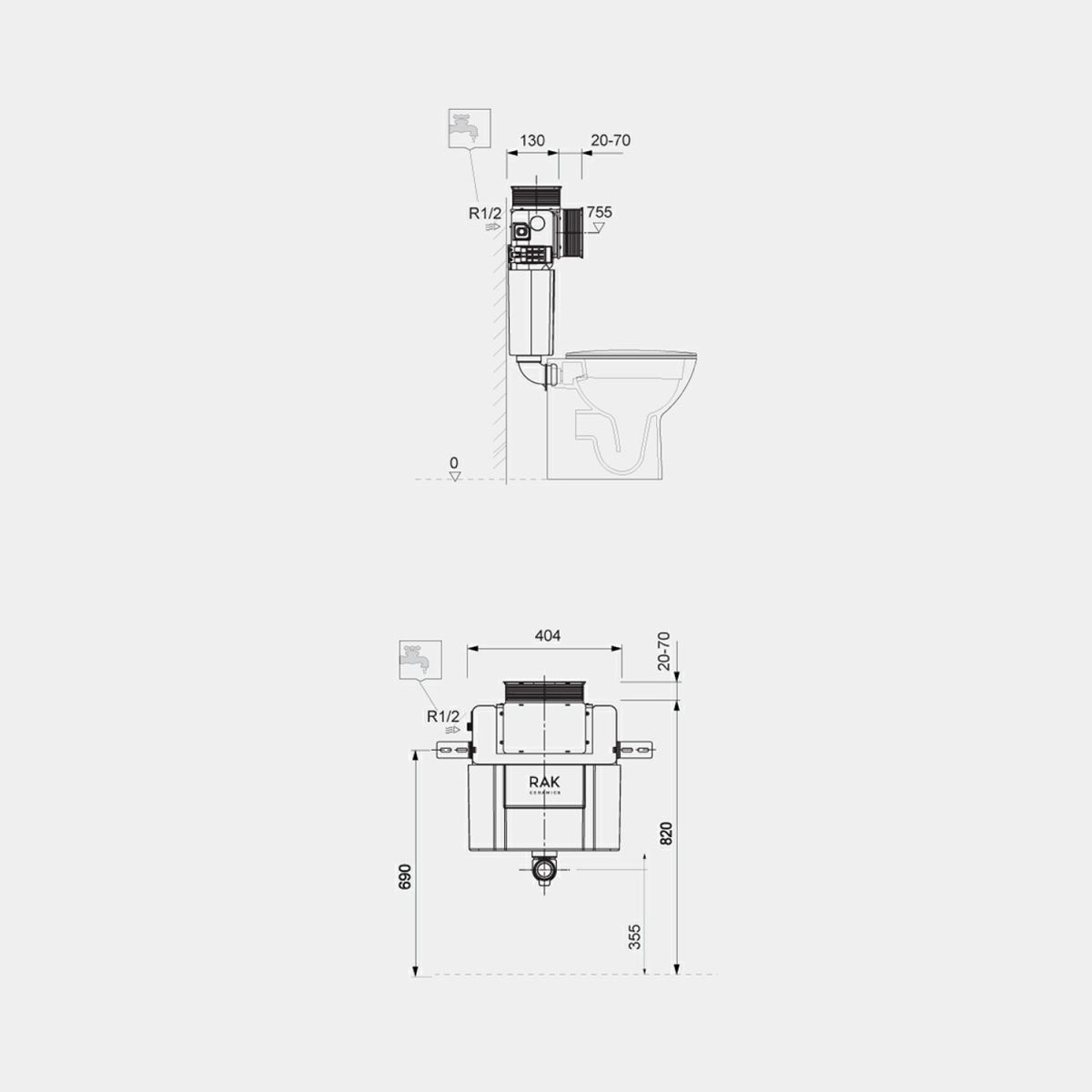 RAK Ecofix Top/Front Access Concealed Cistern Dimensions