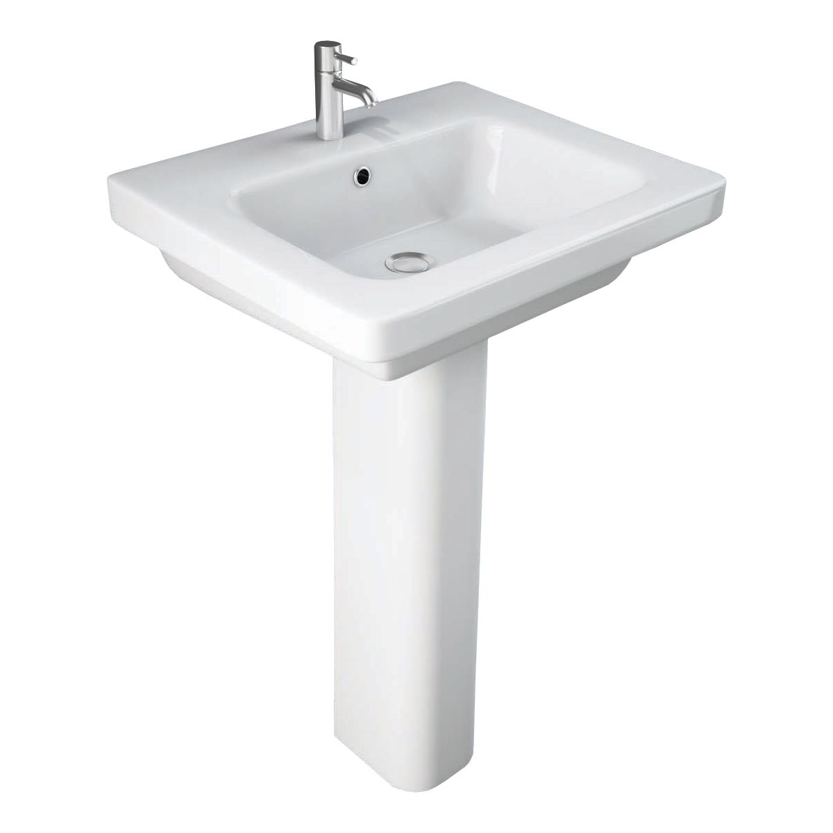 RAK Resort Basin 1 Tap Hole with Full Pedestal