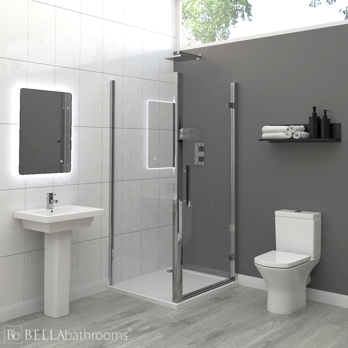 RAK Resort Ensuite Bathroom with Apex Hinged Shower Enclosure