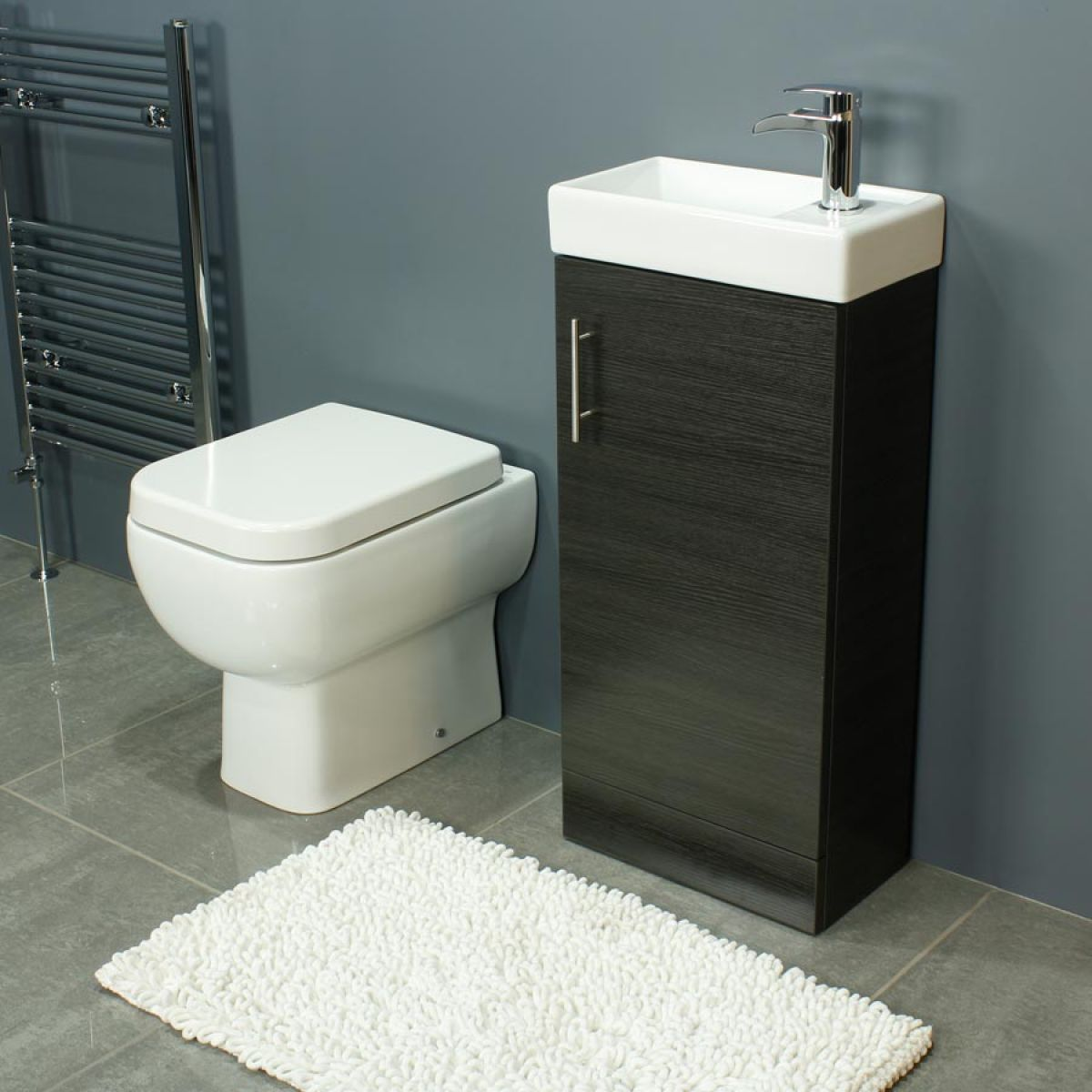 RAK Series 600 Back To Wall Toilet and 400 Series Walnut Vanity Unit