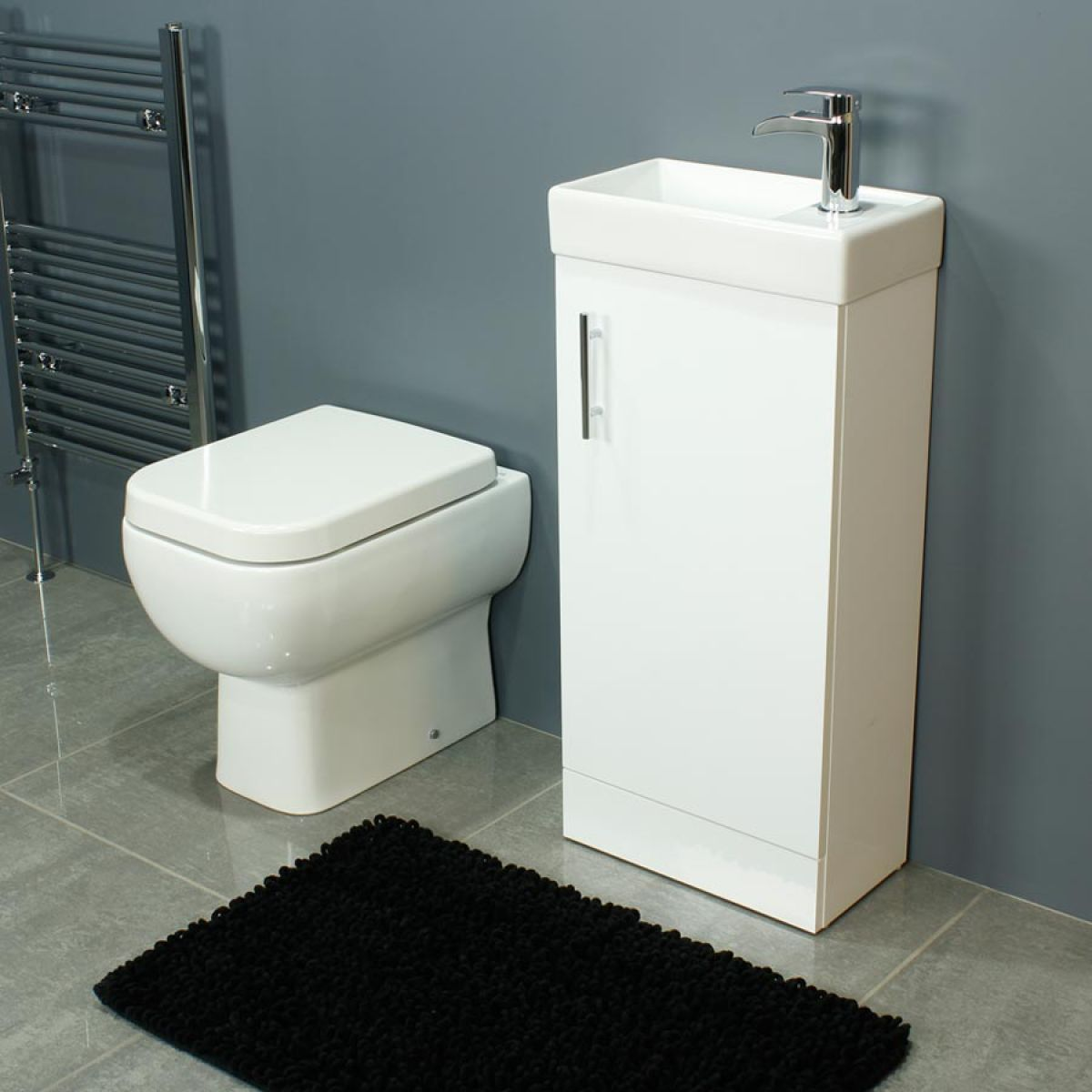 RAK Series 600 Back To Wall Toilet and 400 Series Gloss White Vanity Unit