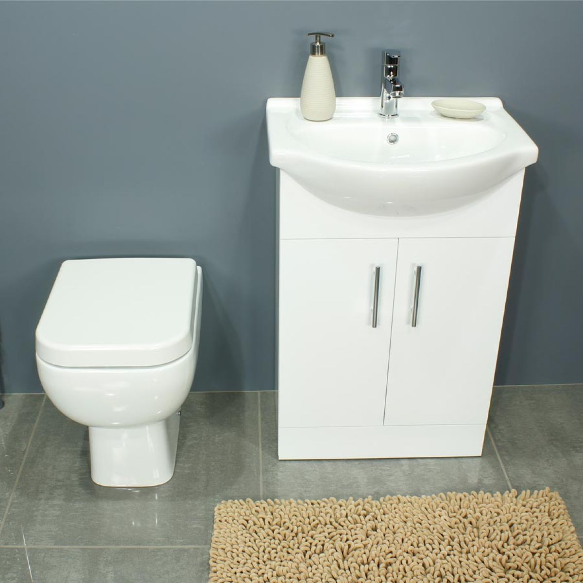 RAK Series 600 Back To Wall Toilet and 550 Series Gloss White Vanity Unit Front