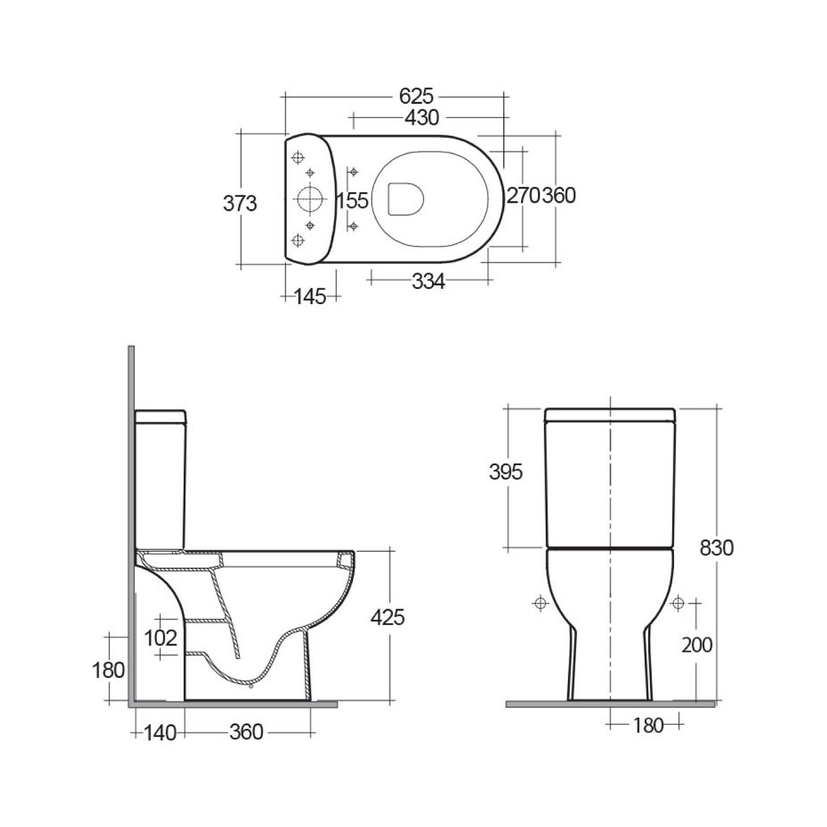 RAK Tonique Close Coupled Open Back Toilet Dimensions