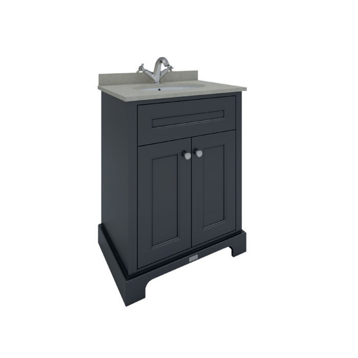 RAK Washington Black Vanity Unit with Grey Countertop 600mm