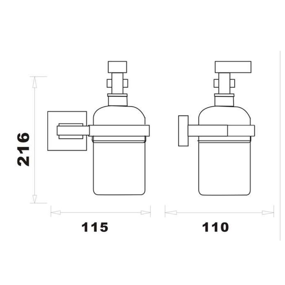RAK Cubis Black Soap Dispenser Measurements