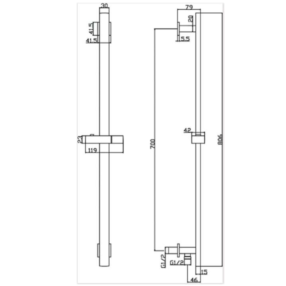 RAK Chrome Square Slide Rail Shower Kit with 3 Function Shower Head and Integral Wall Outlet Measurements